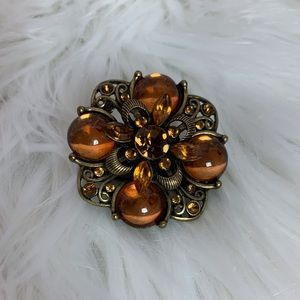 Orange jeweled elastic fashion ring